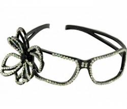 Brille Haarreif mit Silbern Strassblume