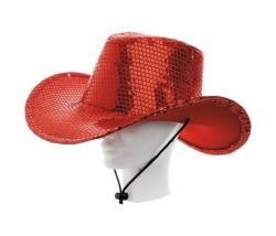 Cowboyhut Pailletten rot