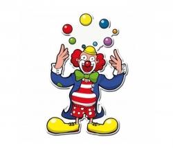 Dekomaske Clown Jongleur