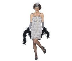 Flapper Kleid silber Gr. L