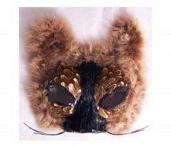 Maske Katze mit Federn braun